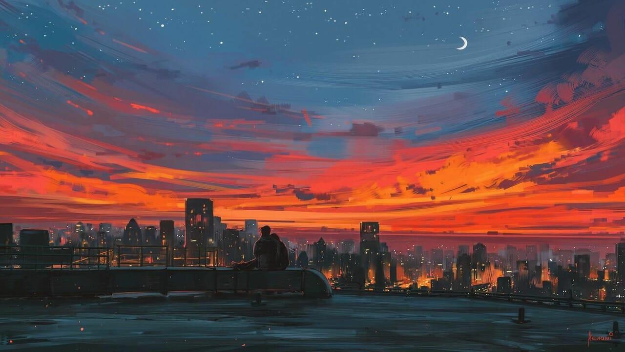 love, art, and sky image