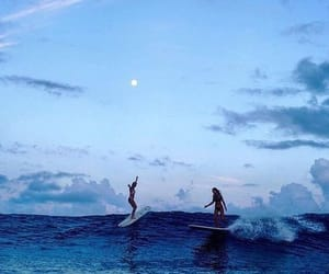 blue, ocean, and surfing image