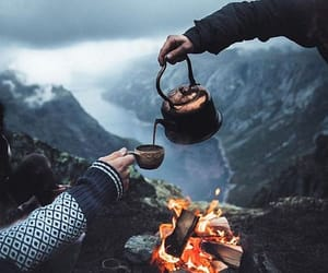 fire, nature, and coffee image