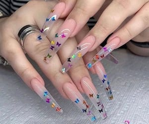 nails, butterfly, and acrylic image