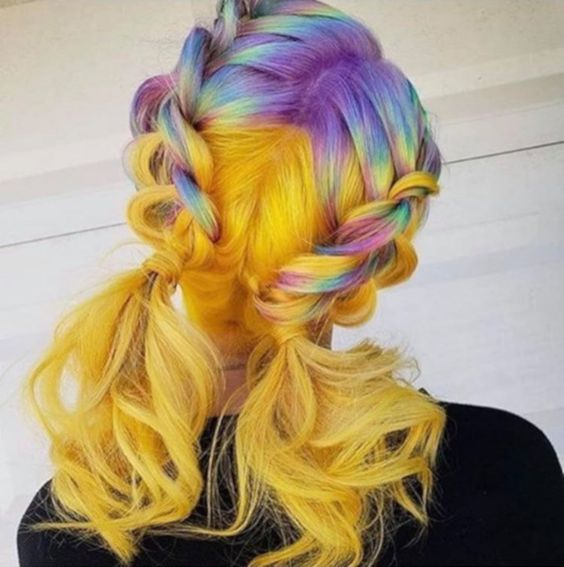 colorful hair, rainbow hair, and dyed hair image