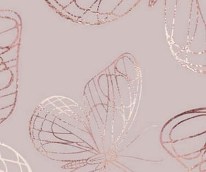 wallpaper, rose gold, and butterfly image