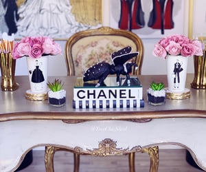 chanel, pink, and office decor image
