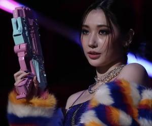 girl, toy gun, and gun image
