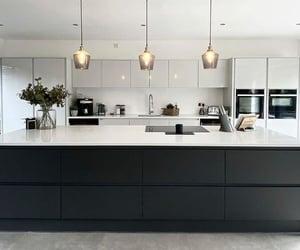 hanging lights, interior design, and kitchen image