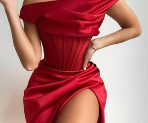 chic, dress, and red image