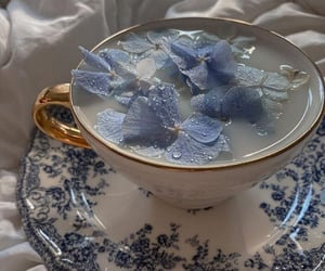 blue, flowers, and tea image