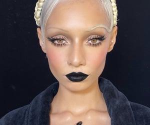 blonde, make up, and dark lips image