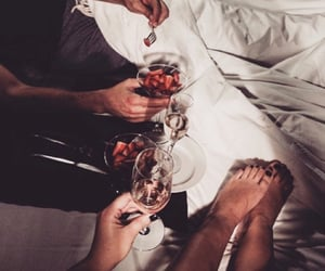 bed, drinks, and food image