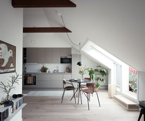 apartment, beams, and design image
