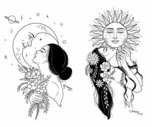 moon, sun, and girl image