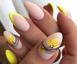 nail art, yellow nails, and gel nails image