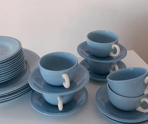 blue, cup, and dishes image