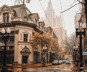 city, autumn, and snow image