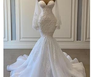 wedding gown, modest wedding dress, and robe de marriage image