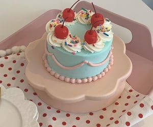 blue, cake, and cherries image
