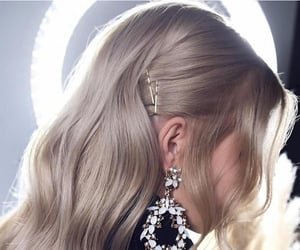 blonde hair, style, and earring image