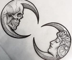 draw, skull, and girl image