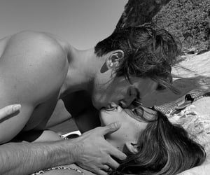 love, black and white, and beach image