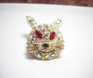 etsy, rhinestones, and rhinestone cat pin image