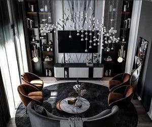 chandelier, sofa, and dark interiors image