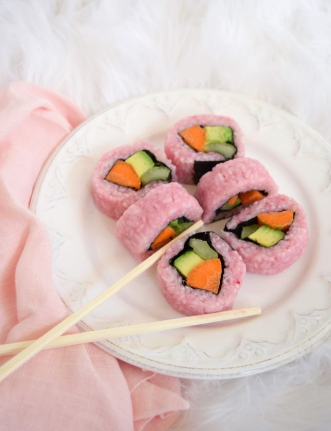 pink, sushi, and food image