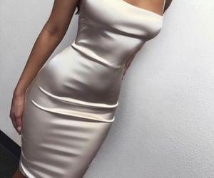 dress, satin, and white image