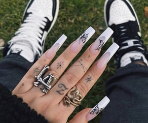 nails, black, and butterfly image