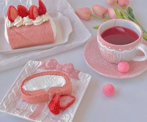 cake, pink, and strawberries image