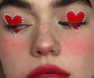 red, makeup, and heart image