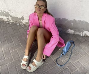 street style, everyday look, and pink blazer image