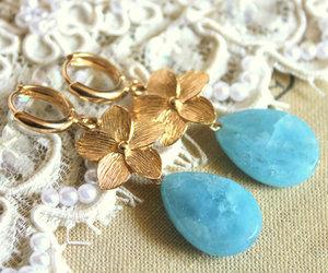 aqua, gold flowers, and blue image