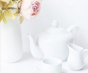 cup of tea, flowers, and tea image