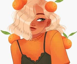 art, girl, and mandarins image