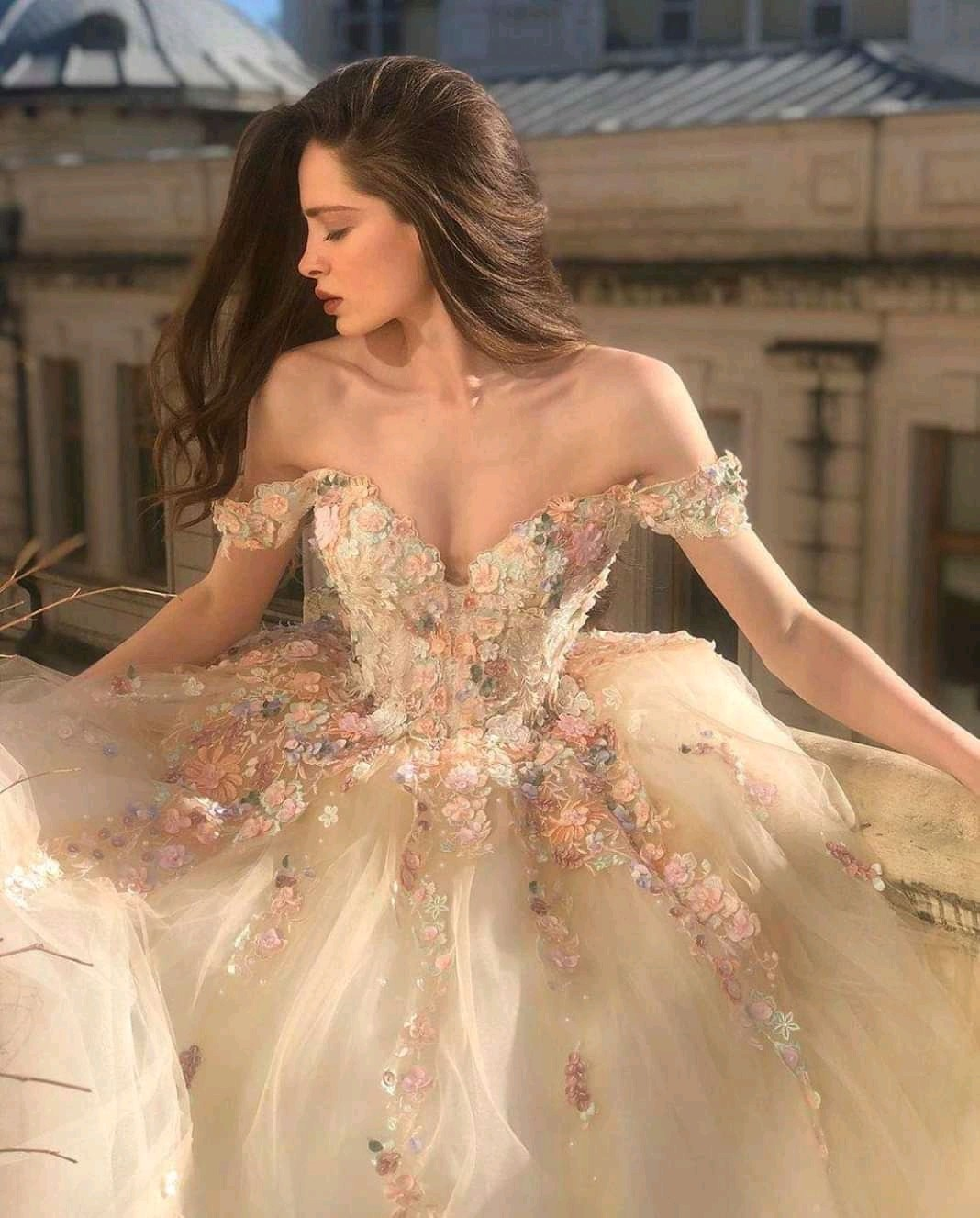 dress, princess, and flowers image