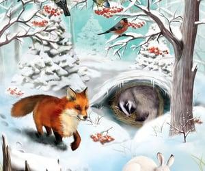 зима, рисунок, and дивотные image