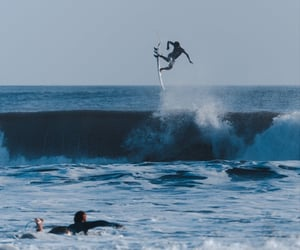 surfer, surfing, and wave image