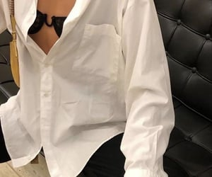 white button up, classy glam, and simple casual look image