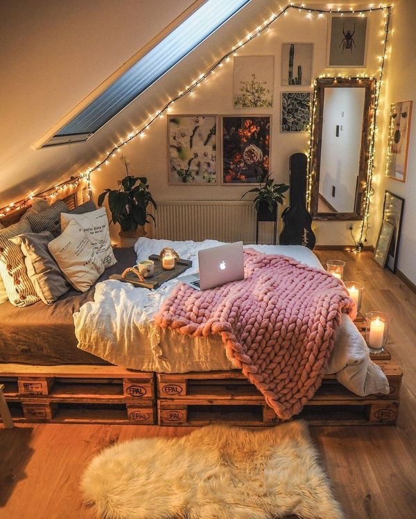 bedroom, blanket, and candles image