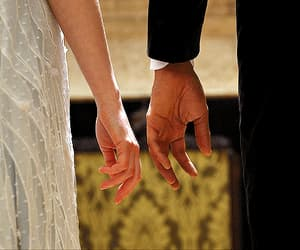 couple, falling in love, and hands image