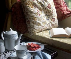 book, tea, and strawberry image