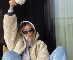 everyday look, grey hoodie, and coffee breakfast image