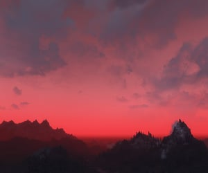 sky, nature, and red image