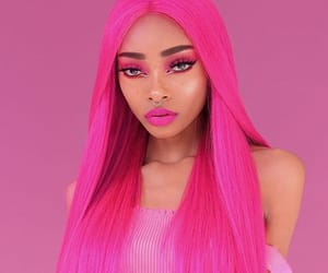 pretty girl, dyed hair, and pink hair image