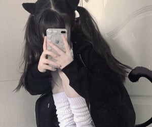 aesthetic, cat ears, and schoolgirl image