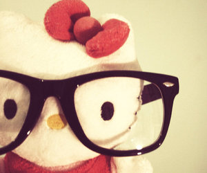 hello kitty, glasses, and nerd image