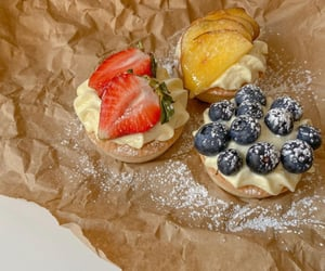 blueberry, pastry, and strawberry image