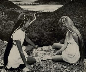 girl, black and white, and hippie image