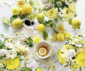 cup of tea, flowers, and yellow image