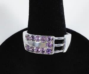 Silver Tone Amethyst Buckle Ring Vintage Purple Gemstone image 0